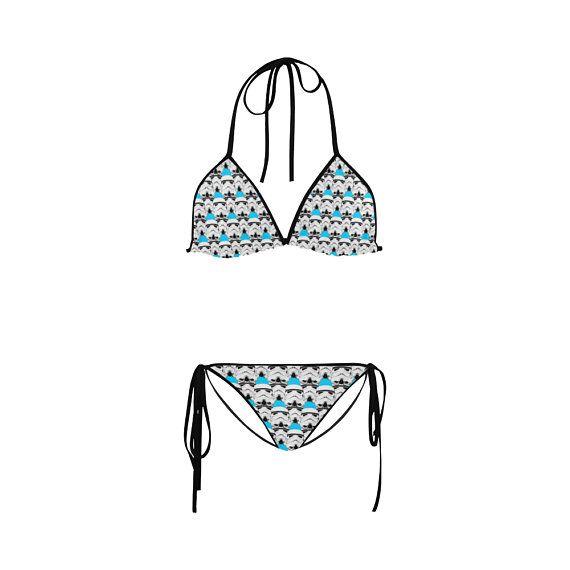 8ae2d36d179 Turquoise Blue Stormie Helmet Print String Bikini - Star Wars Inspired  Swimwear Fashion for Women - Stormtrooper Swimsuit