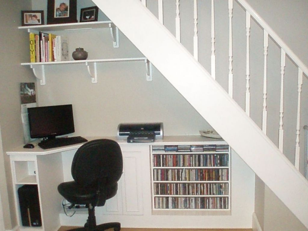 Under Stairs Office under stairs office. neat functional and making the very best use