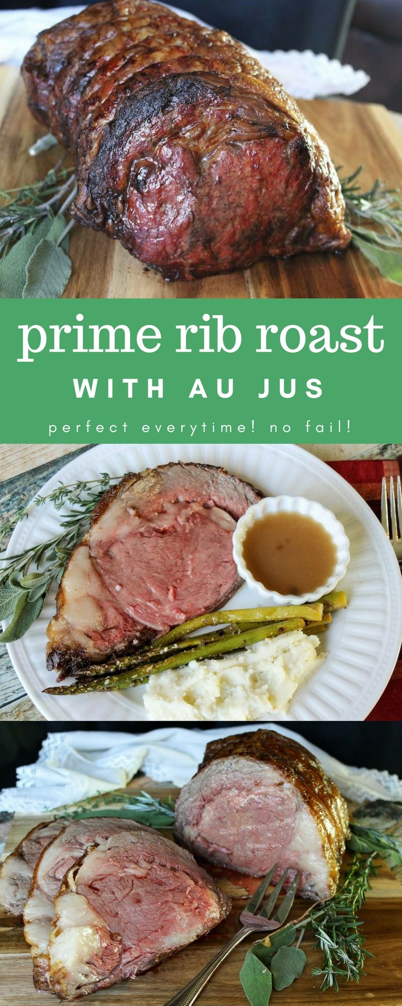 Your new go-to prime rib roast recipe with au jus! It's perfect every time, no fail! #primerib #primeribroast #dinnertime #recipes #christmasdinner #dinnerideas