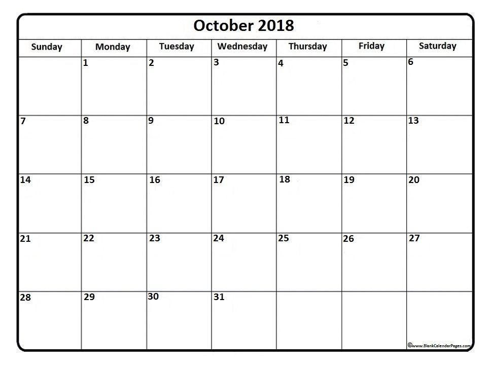 October 2018 Calendar October 2018 Calendar Printable Monthly