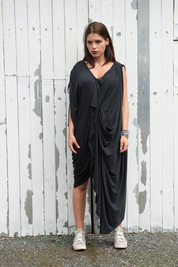 Oversize Dark grey Loose Casual Top / Asymmetric by Metamorphoza