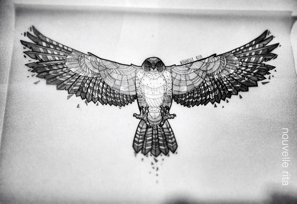 Hawk ~ artist Nouvelle Rita . . . . ღTrish W ~ http://www ... White Falcon Bird Tattoo