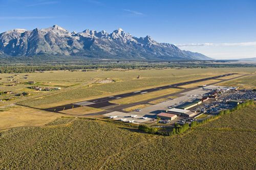 Grand Teton view from Jackson, WY airport in the foreground