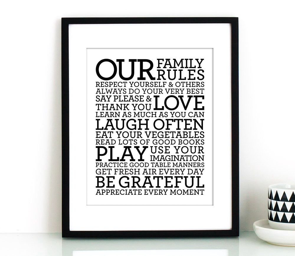 Our Family Rules sign PRINTABLEfamily signprintable decorhouse