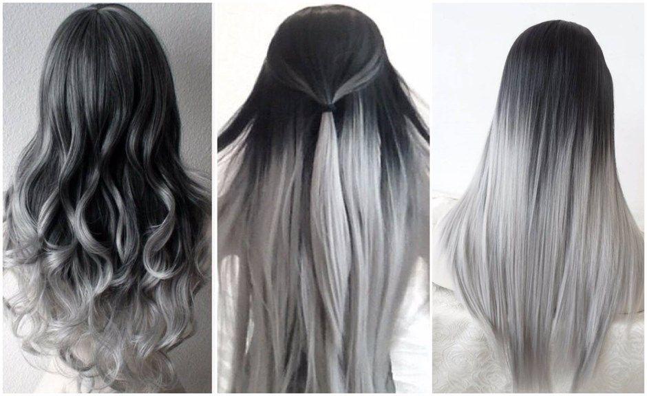 från svart till grått hår