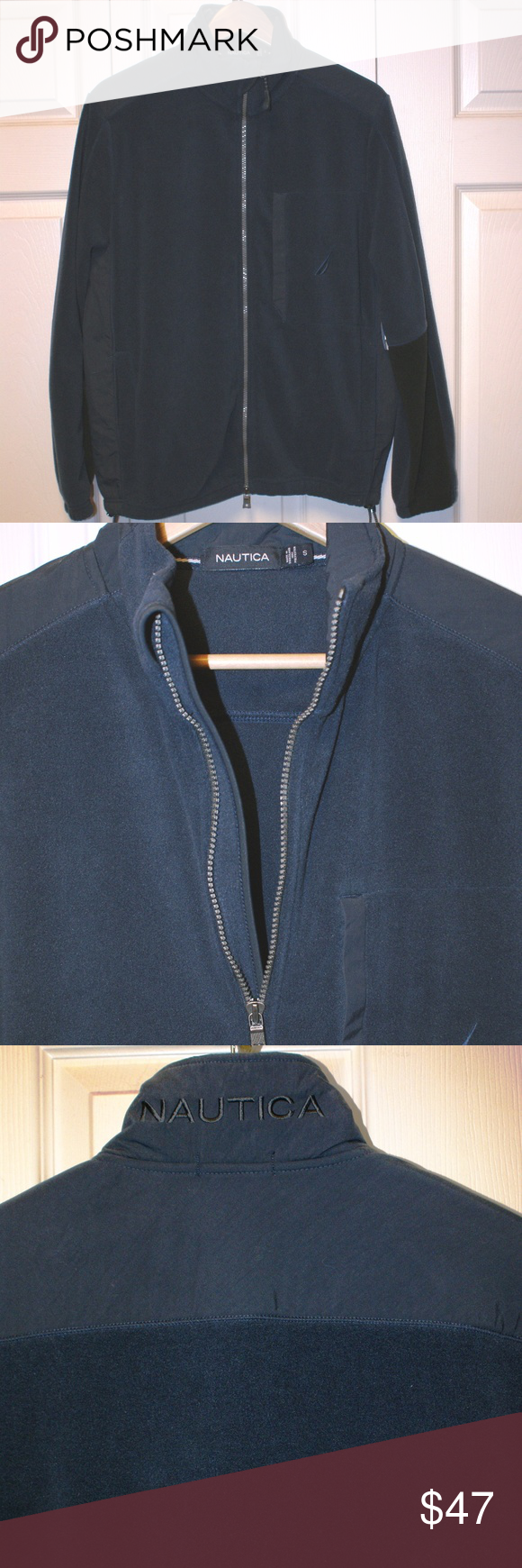 Menus nautica fleece jacket small nwt smoking and zip