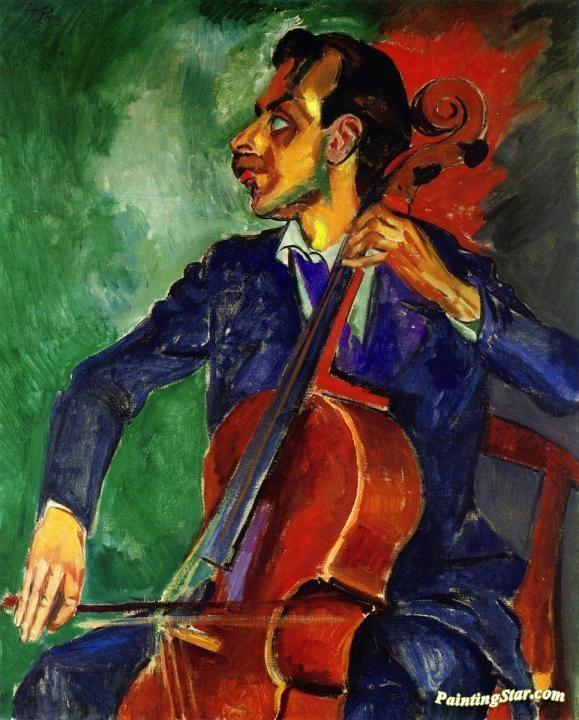 Hermann Max Pechstein German 1881 1955 Cello Player Canvas Art Prints Art Artist