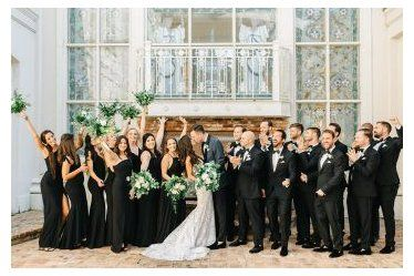 black bridesmaid dresses with groomsmen Downtown O