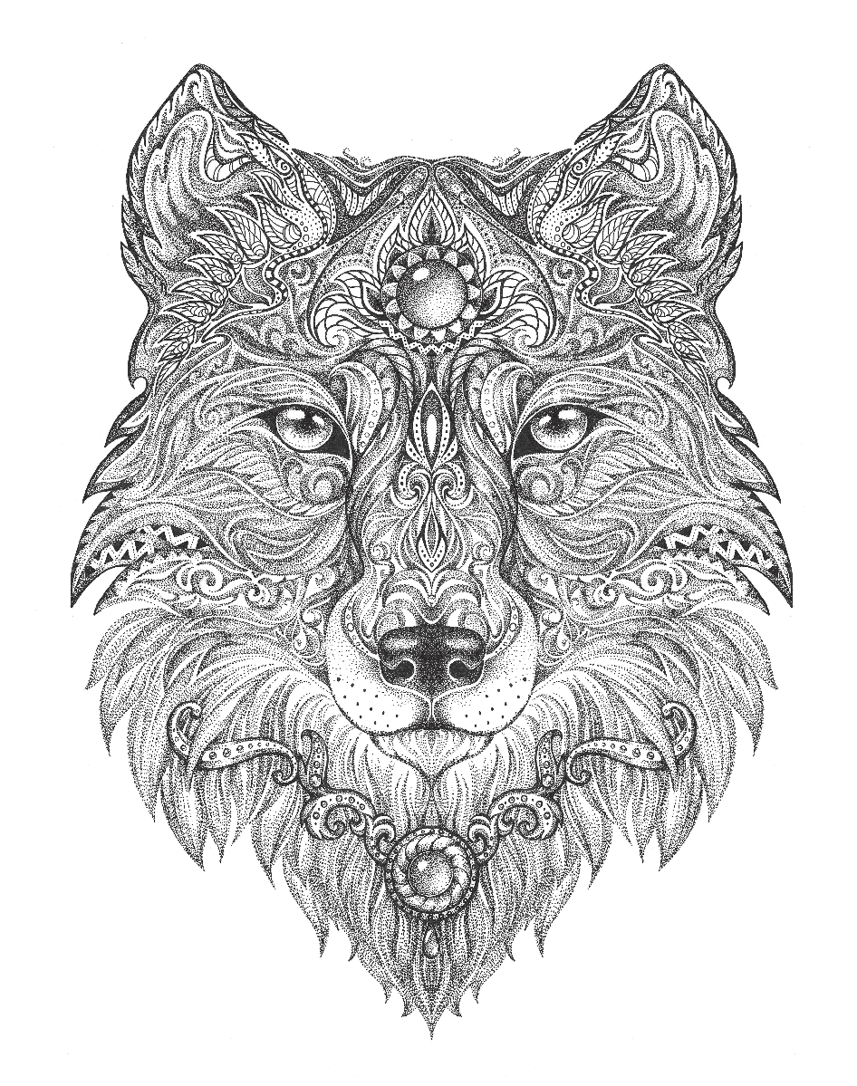 Wolf adult colouring page Colouring