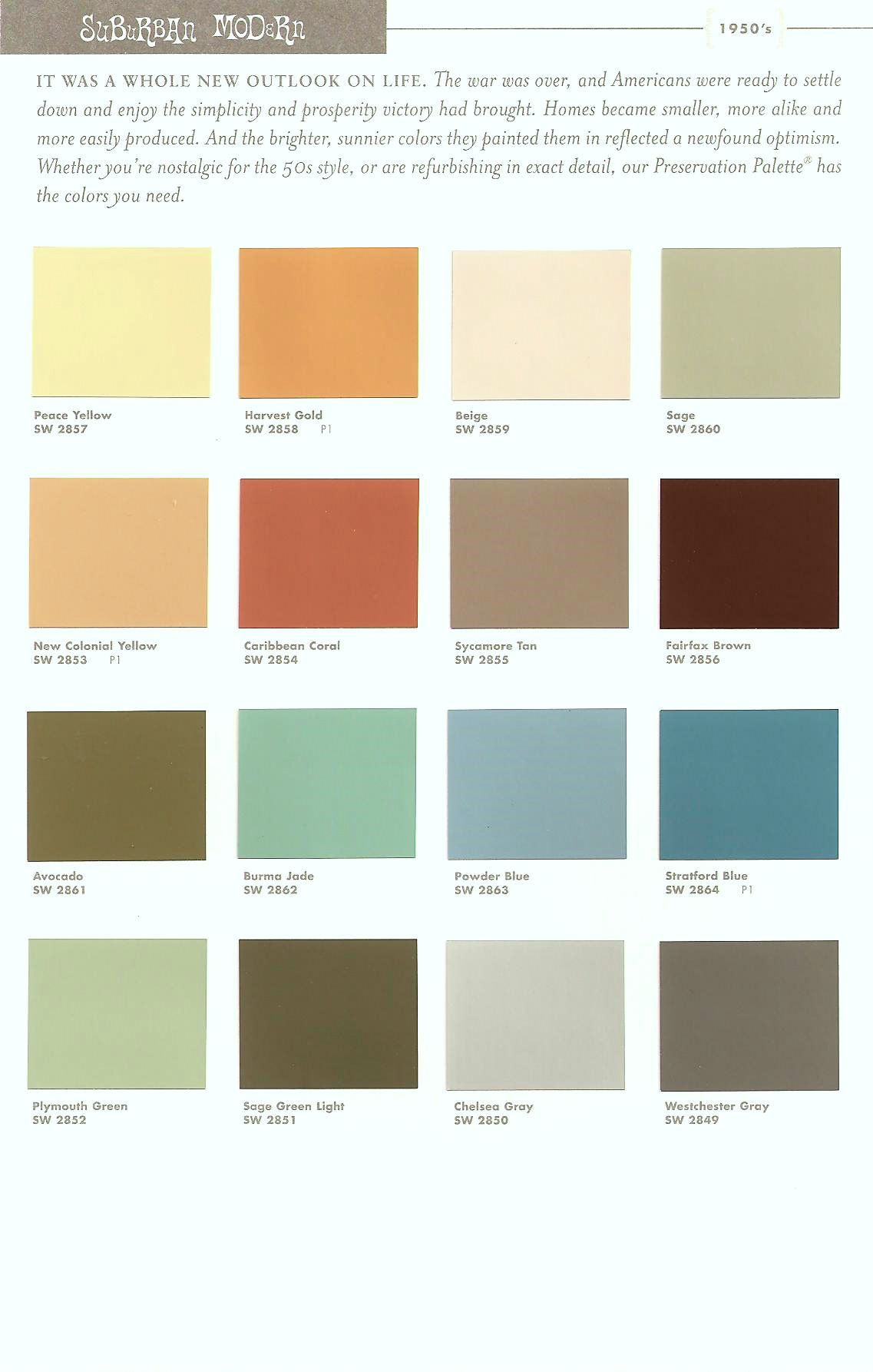 Mid Century Modern Interior Paint Colors Sherwin Williams Suburban Modern Paint Colors 1 For 50s