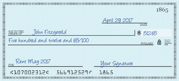 How To Write A Check For 74300 Dollars Writing Dollar Five Hundred