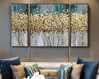Abstract gold foil printable watercolor sea waves wall art | Etsy