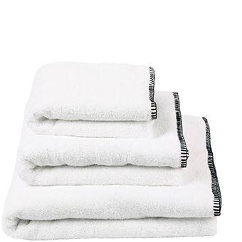 Riez Noir - Luxurious 540gsm White Micro Cotton Towel   Designers Guild USA