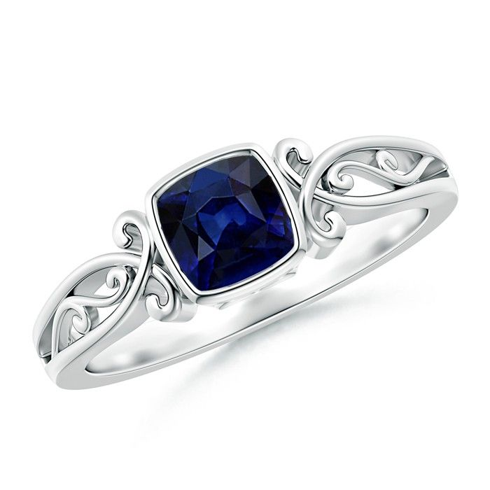 Angara Pear Motifs Tanzanite and Diamond Vintage Carving Ring in Platinum EdNpdLvTvd