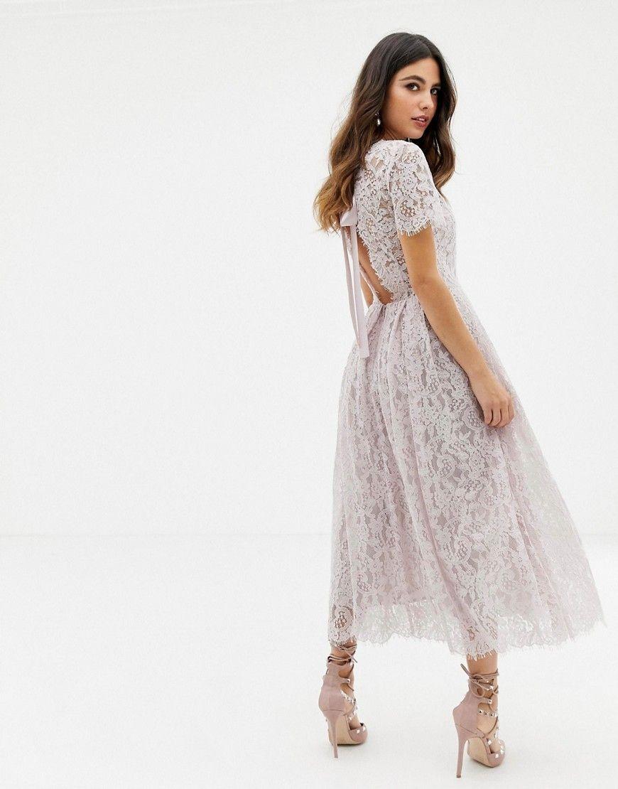 Sukienka Midi Koronka Wstazka Xs 34 7684150606 Allegro Pl Lace Midi Dress Dresses Midi Dress