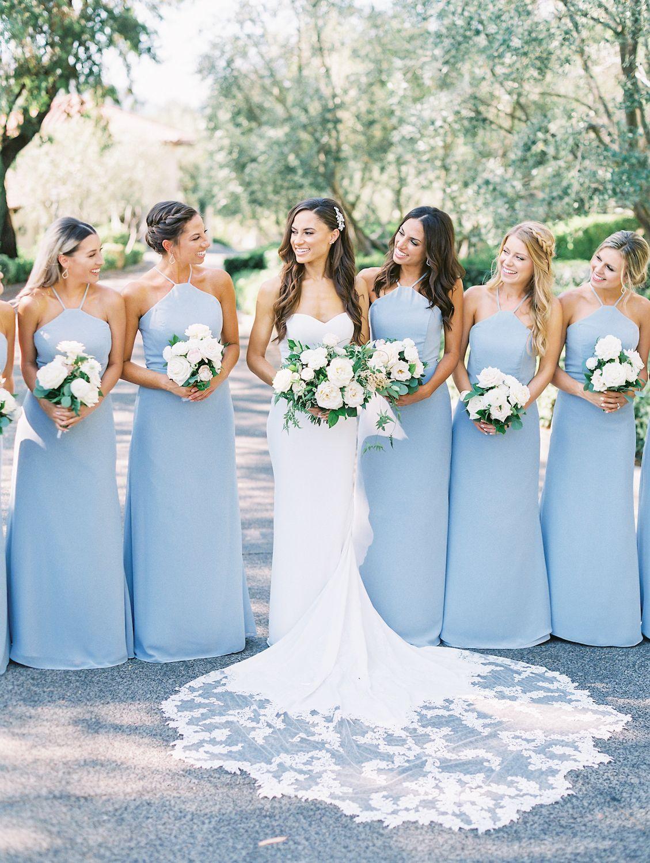 Light Blue Bridesmaid Dresses With White Flowers Rancho Bernardo Inn Compass Floral Light Blue Bridesmaid Dresses Light Blue Bridesmaid Blue Bridesmaids