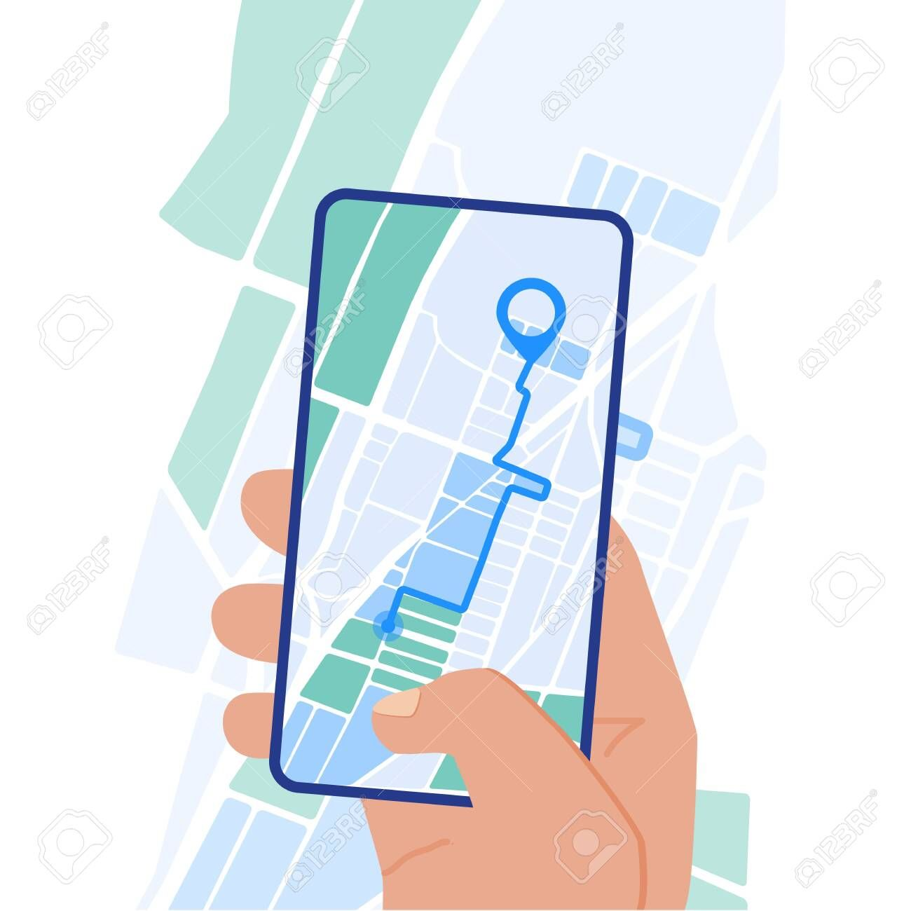 Flat Design Vector Illustration Of Hand Holding Smartphone With