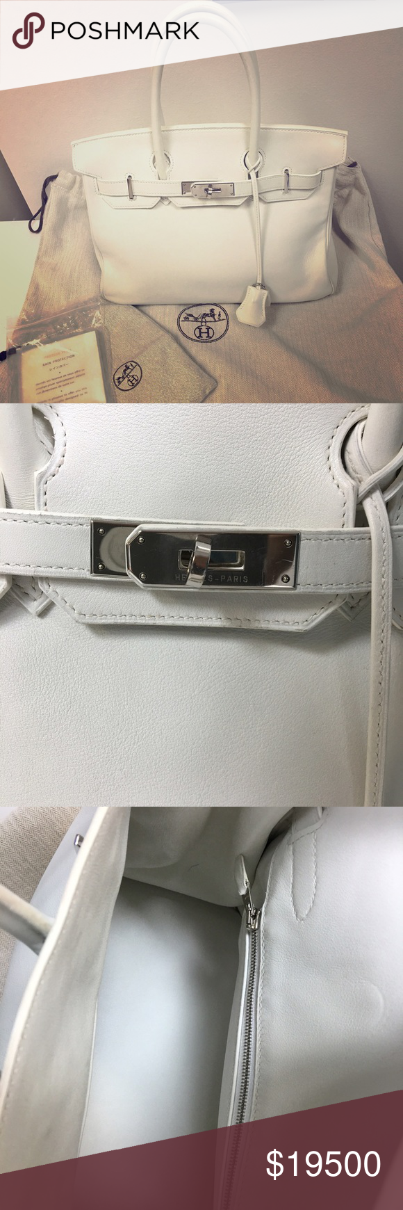 b95057ebc947df Herme's Clemense white Birkin 30 handbag Authentic, comes with duster and rain  protector. Hermes Bags Totes