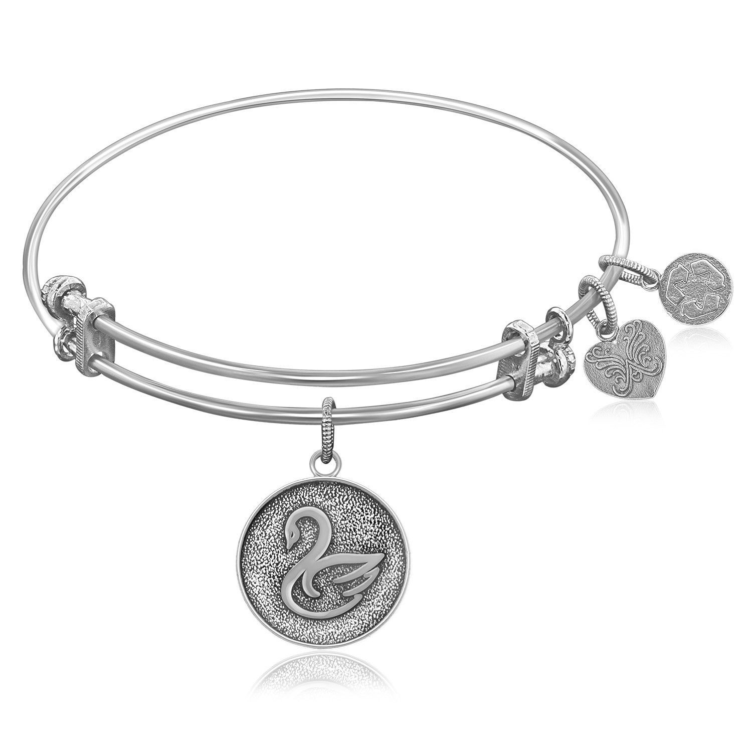 Expandable Bangle in White Tone Brass with Swan Symbol