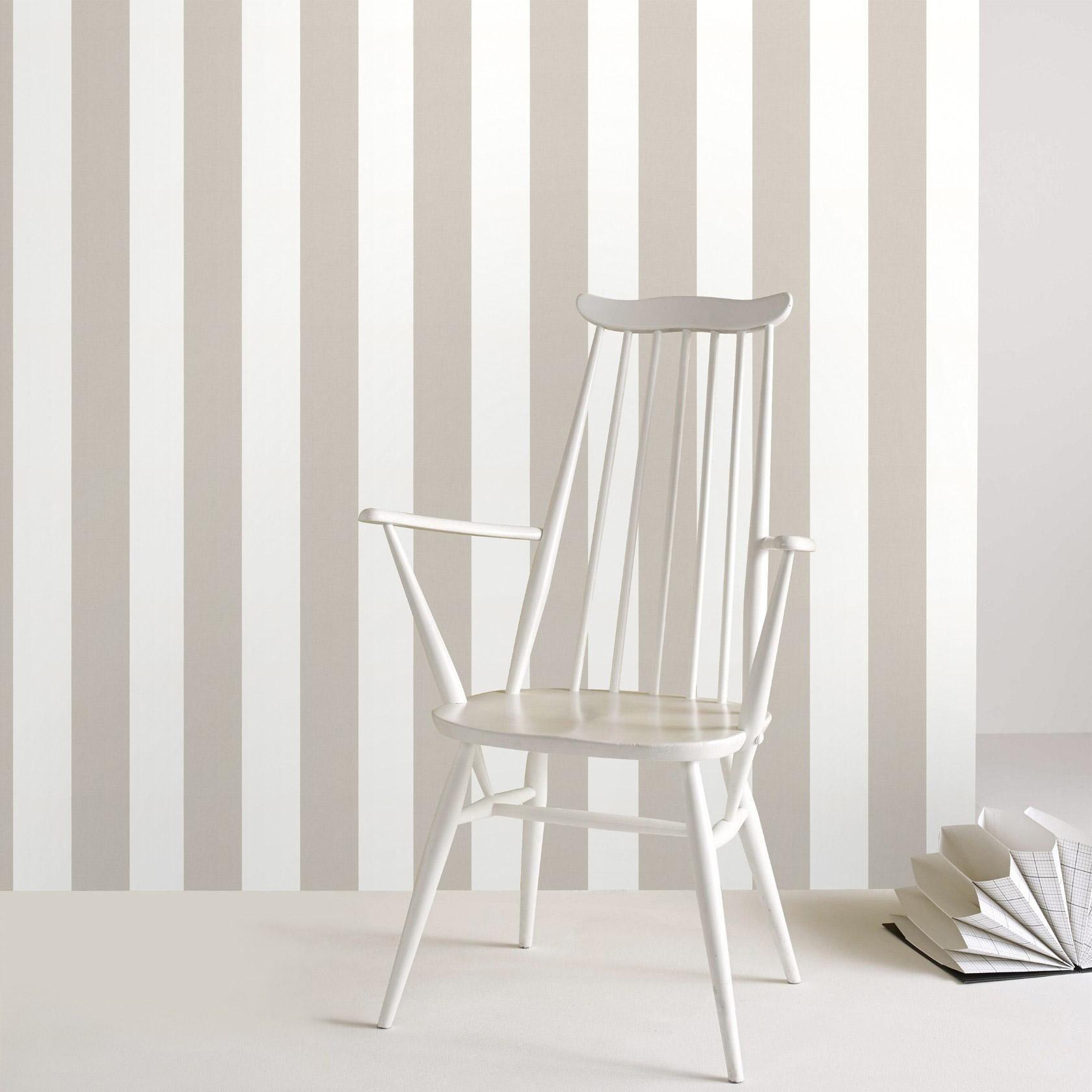 Papier peint vinyle Rayures moyennes blanc/taupe | Papier peint vinyle, Papier peint, Décoration ...