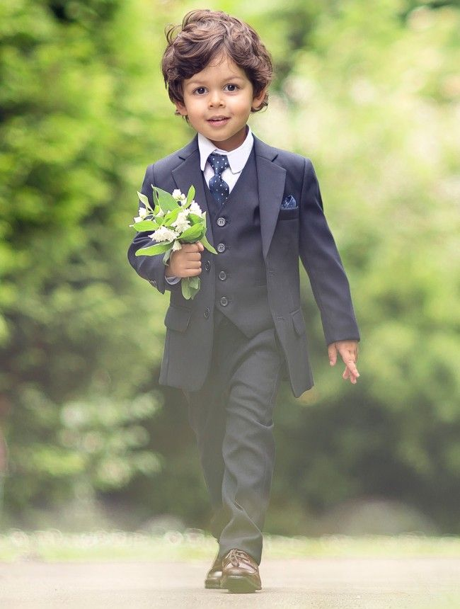Every man, including the youngest, needs a navy-blue suit in his wardrobe. Your little fella will look the part on any special occasion in this stylish and affordable outfit.