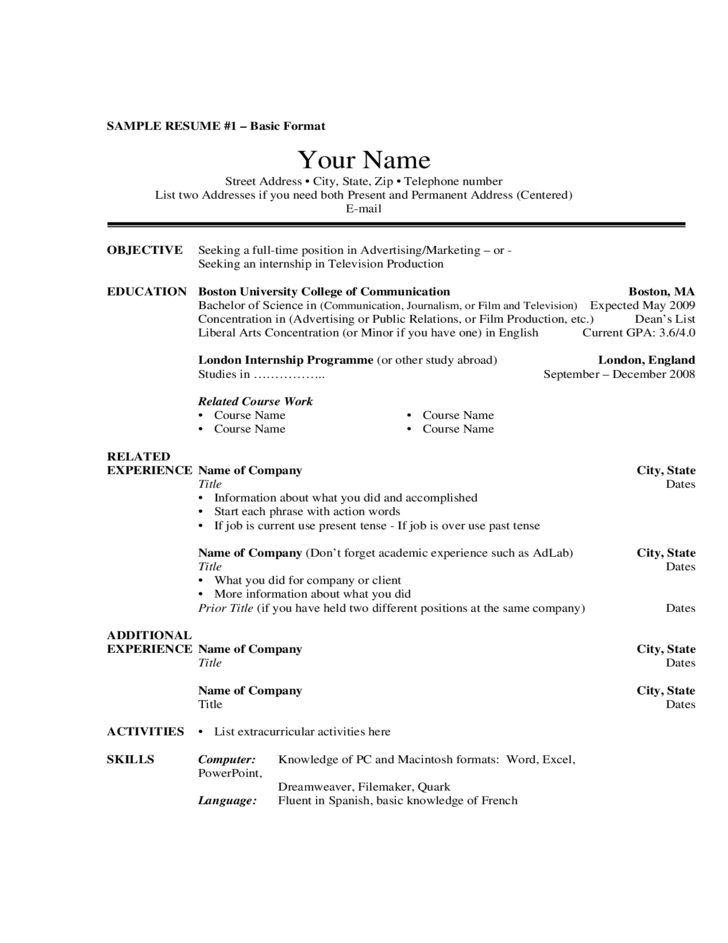 Resume For College Simple Template For Basic Resume  Resume Writing Tips  Pinterest
