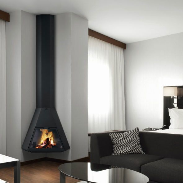 Traforart Fireplaces Arion Wood For Corner Wood And Gas