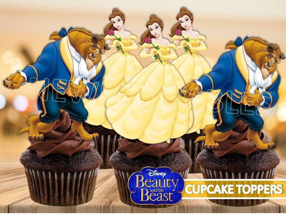 Beauty and the beast cupcake toppers princess belle cake