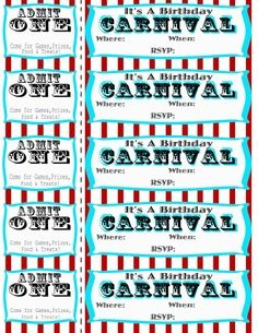 Carnival Circus Birthday Party Free Printables