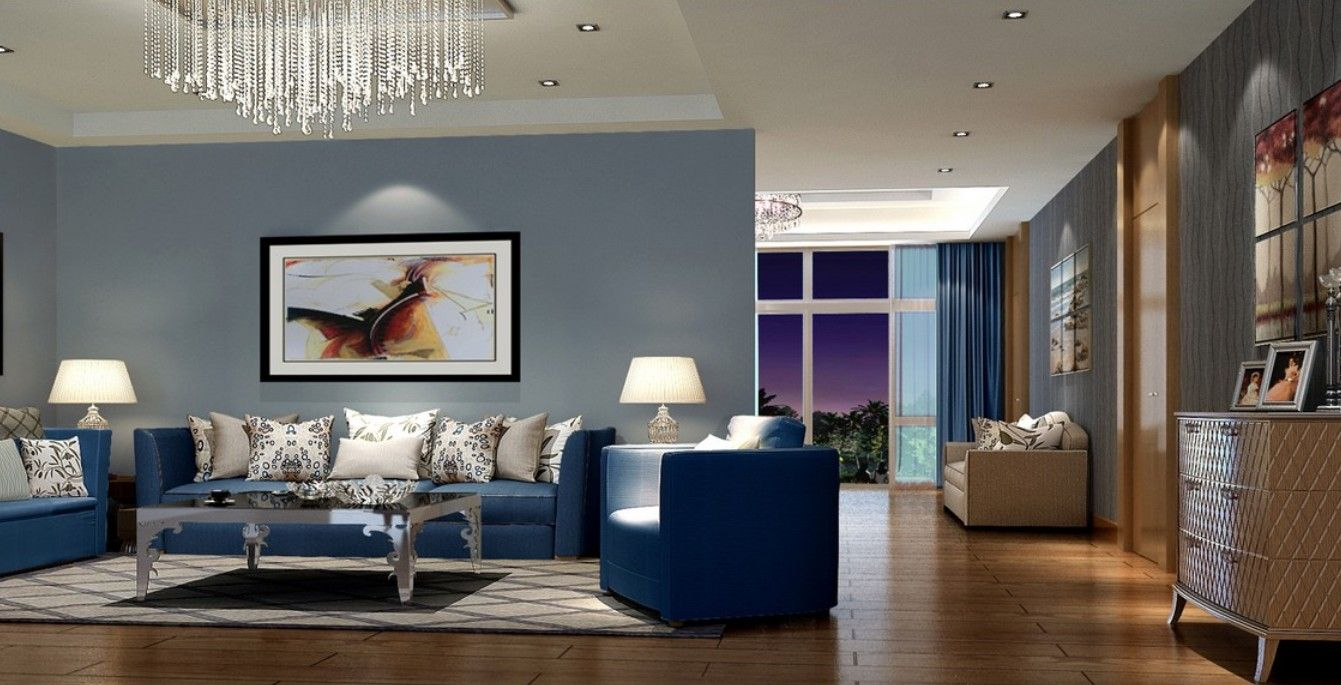 modern living room with blue sofa  home decor, Living Room