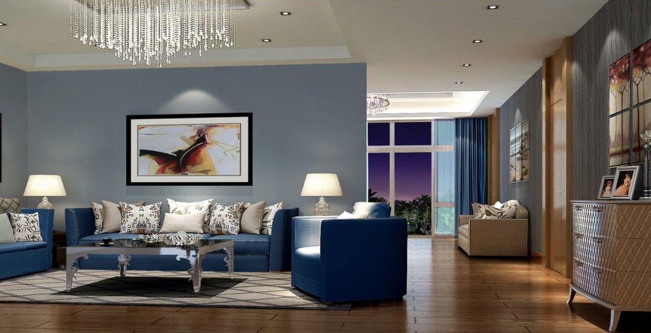 Modern living room with blue sofa  Home decor  Decor