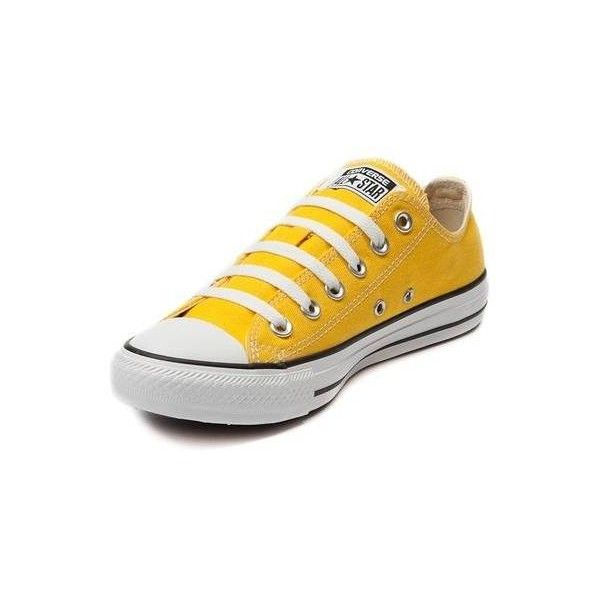 Converse Chuck Taylor All Star Lo Sneaker ($99) ❤ liked on Polyvore featuring shoes, sneakers, special occasion shoes, yellow sneakers, converse sneakers, evening shoes and punk rock shoes