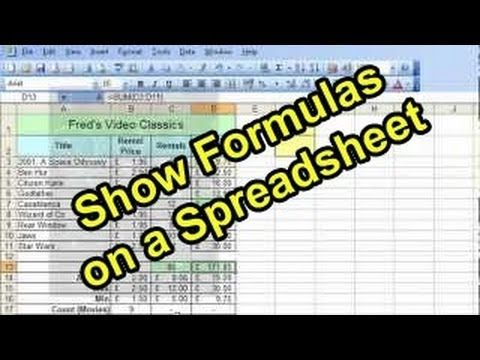 Microsoft Excel Tutorial for Beginners #30 - Show Formulas on a - spreadsheet formulas