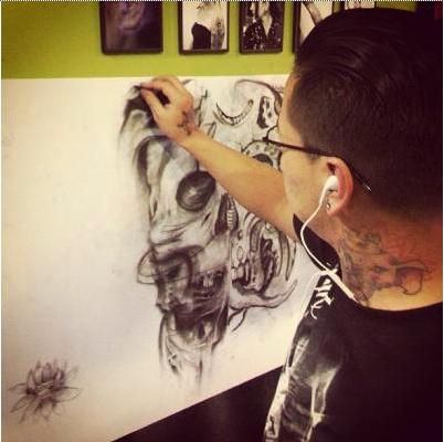 InkedSociety member and tattoo artist Jonn Rosero. Skeleton Sketch