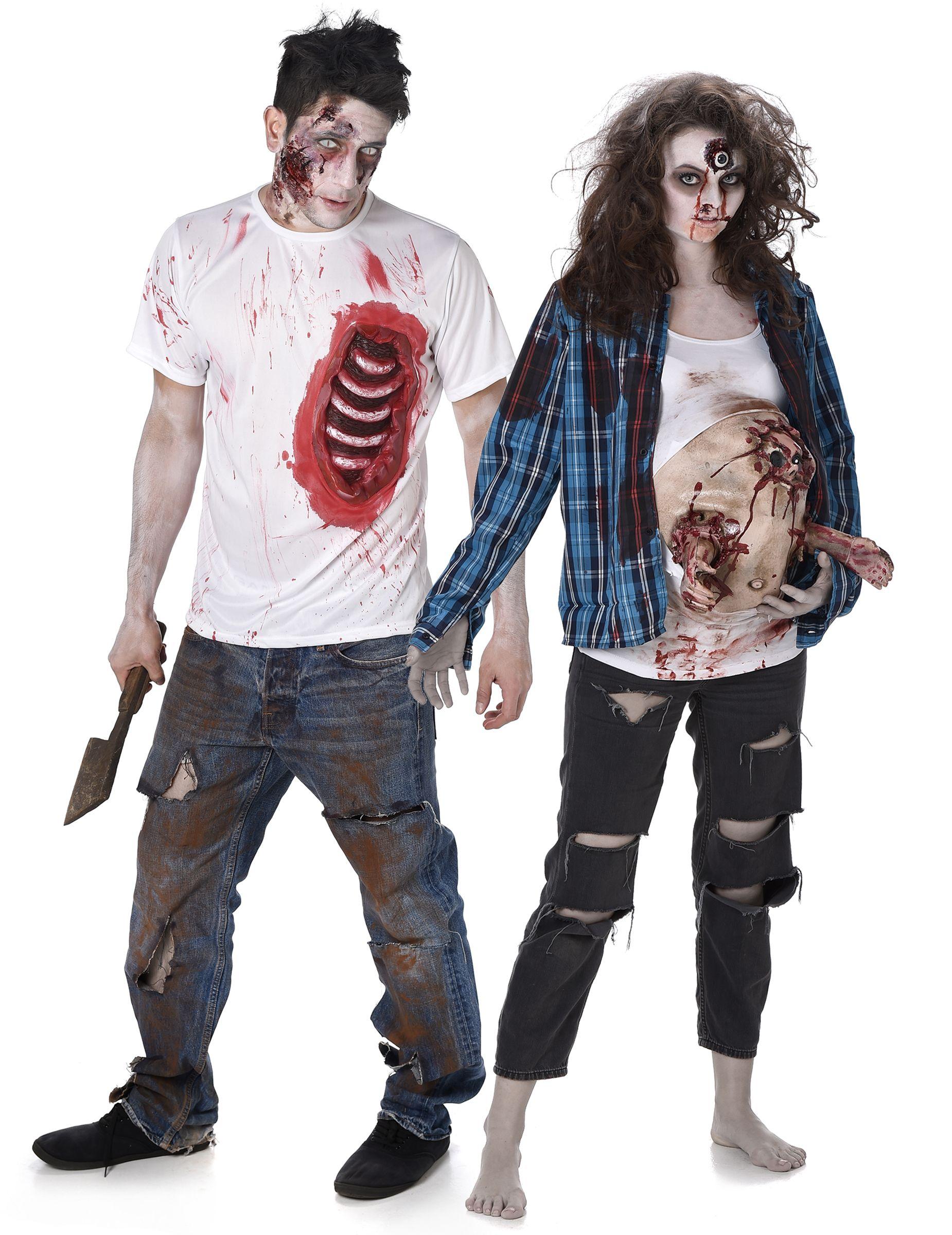 Vestito Zombie Halloween per coppia  Vestito da donna zombie da donna in  cinta con pancione 8ce495e19225