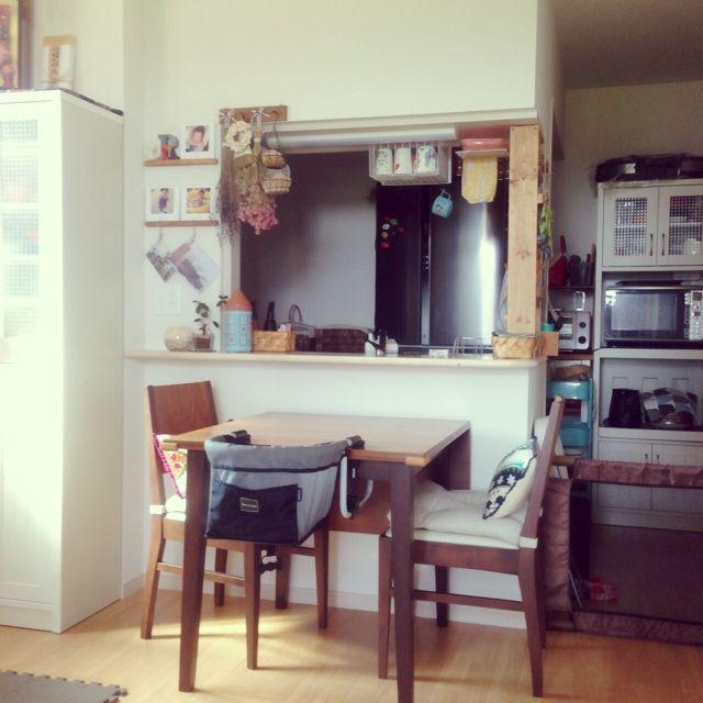 部屋全体 賃貸によくあるカウンターキッチンのインテリア実例