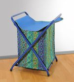 Swayam Cotton 40 L Blue Laundry Basket Blue Bags Laundry Basket