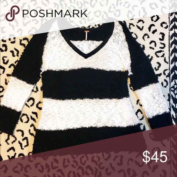 Free People, black and white stripe sweater Oversized sweater, black and white stripe, size: small. Great with black leggings and a bold lipstick! Very comfortable! Can dress up or down. Never worn, but no tags. Free People Sweaters