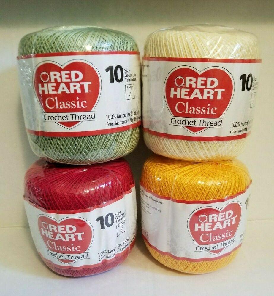 Lot Of 4 Red Heart Cotton Crochet Thread Size 10 15 7 Cream Green
