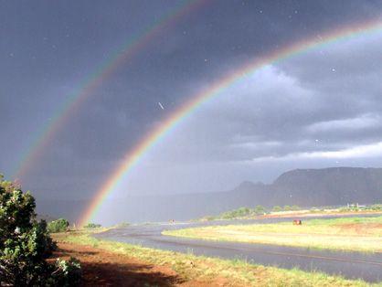 double rainbow with pineapple rain