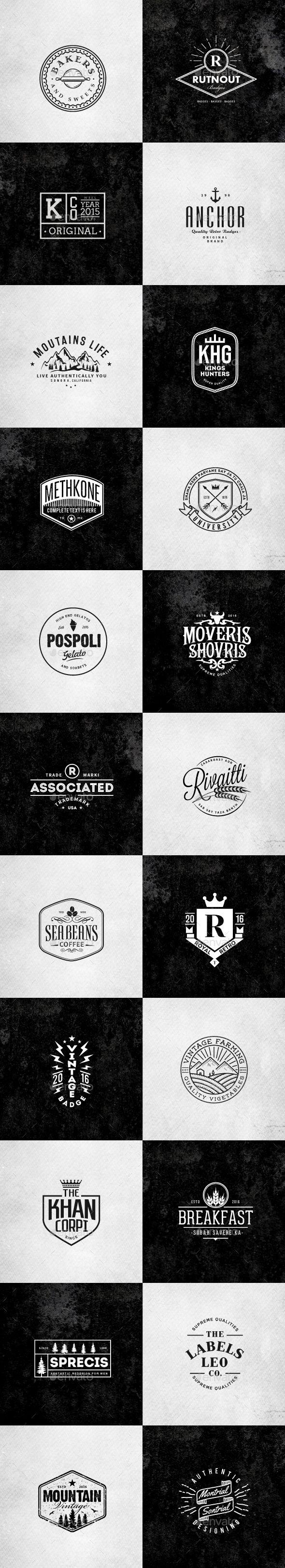 Retro Vintage Minimal Logos Vol.02   Minimal logo, Ai illustrator ...