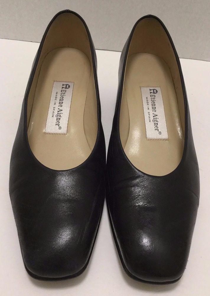 Etienne Aigner Leather Pump Black Classic Career Low Block Heel Shoe Size  6.5M #EtienneAigner