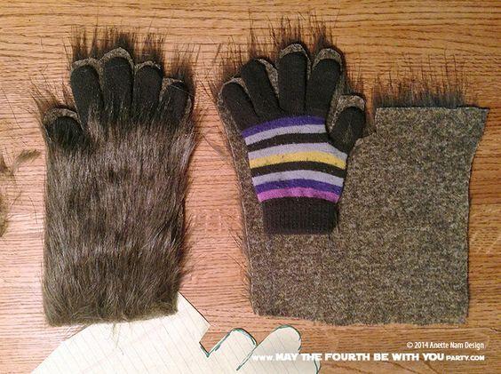 Paw Glove Fingerless Wolf Fur Costume Puppy Play Pet Gray 3175 PAWSTAR Pawlets