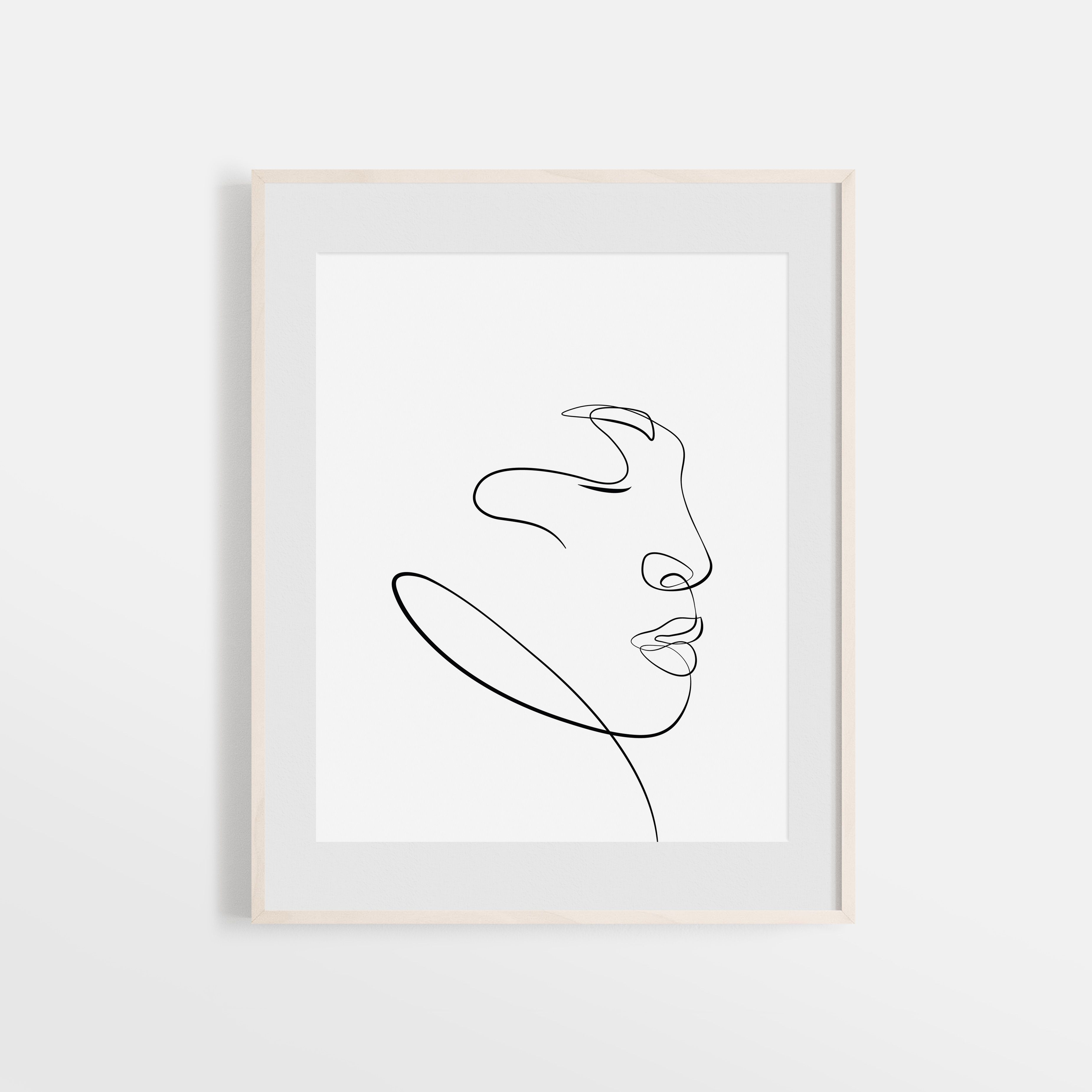 Single Line Face Sketch One Line Drawing Facial Illustration