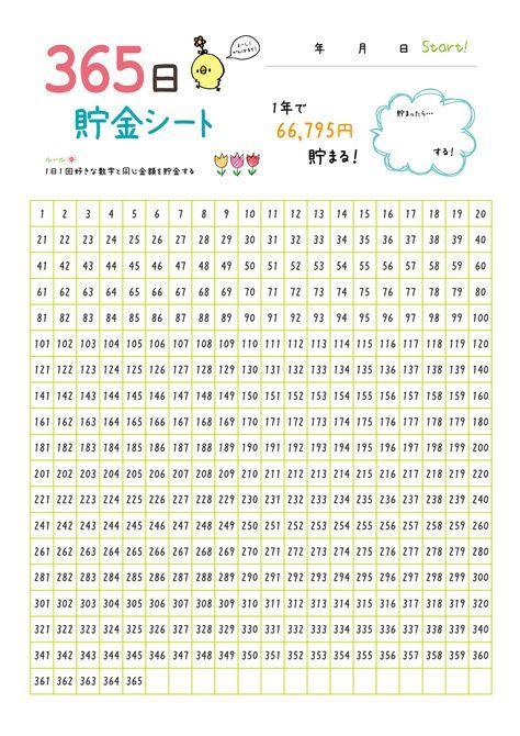 かわいい365日貯金シート カラー 手帳のページ 家計簿 家計簿 テンプレート