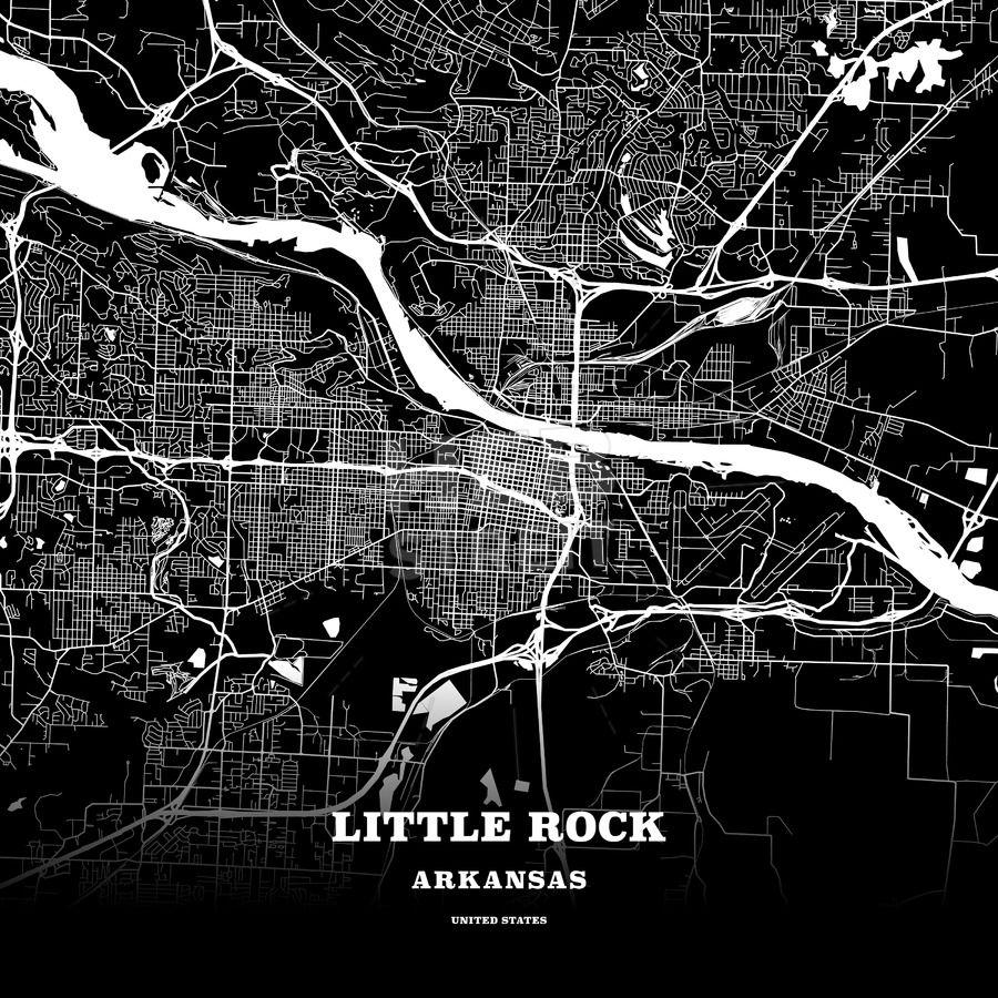 Black map poster template of Little Rock, Arkansas, USA   Streit