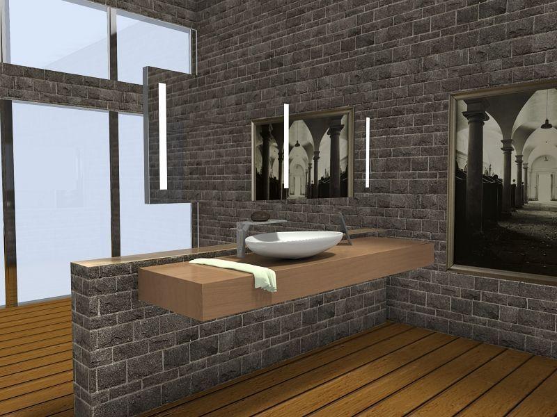 Bathroom Designing Software 3D Floor Plan For Contemporary Bathroom With Stone Walls Wood