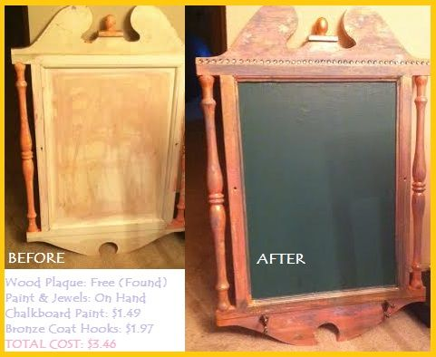 This plaque was found abandoned. Sandpaper, paint, green jewels and a chalkboard wash. Add some bronze hooks and voila! Entry message center/key hooks.