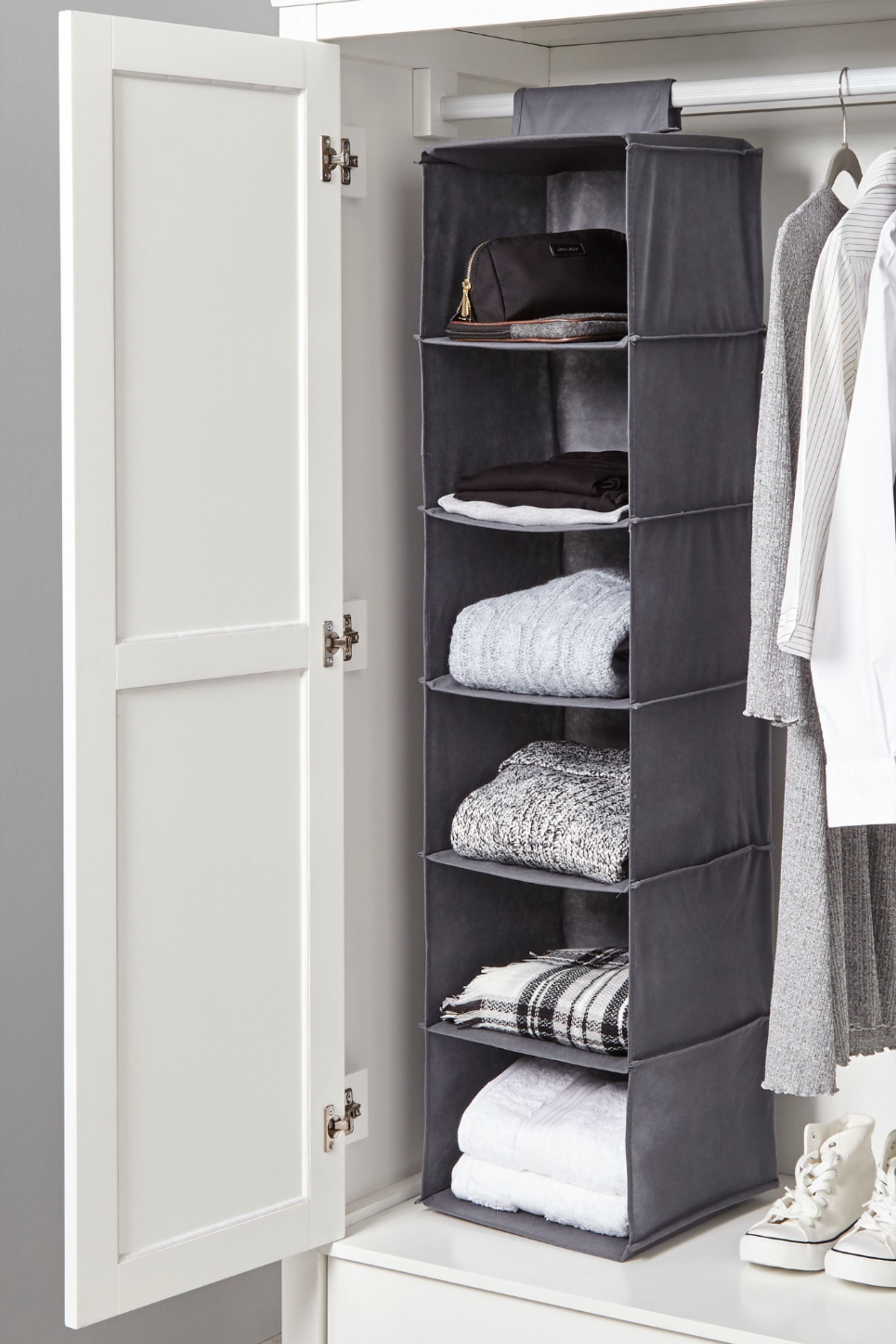 Hanging Grey Organiser In 2020 Hanging Wardrobe Storage Plastic Storage Drawers Wardrobe Storage