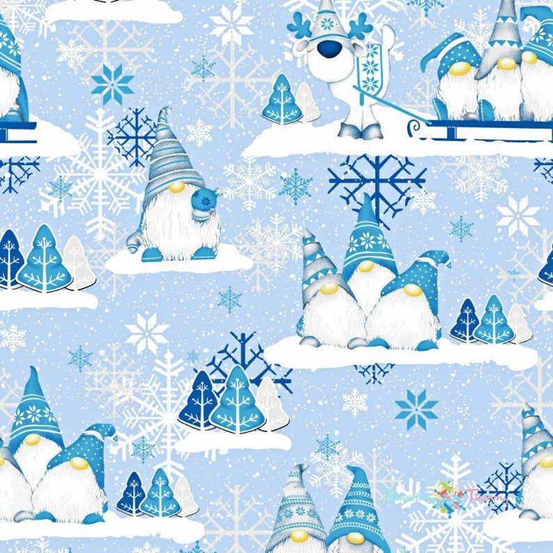 Scandinavian Gnomes Cotton Fabric By The Yard,Christmas